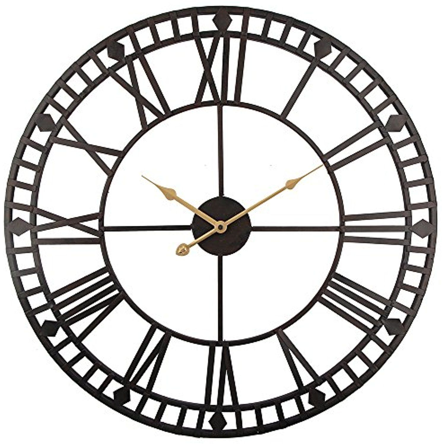 Roman round clock timelike handmade large wall clock wrought metal