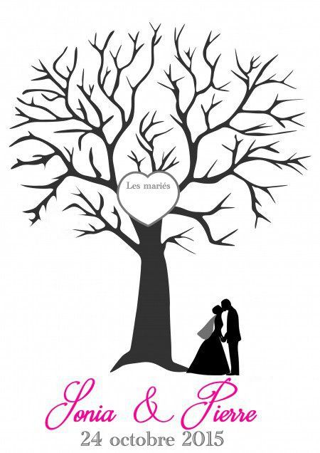 affiche arbre empreintes personnalis pour mariage. Black Bedroom Furniture Sets. Home Design Ideas