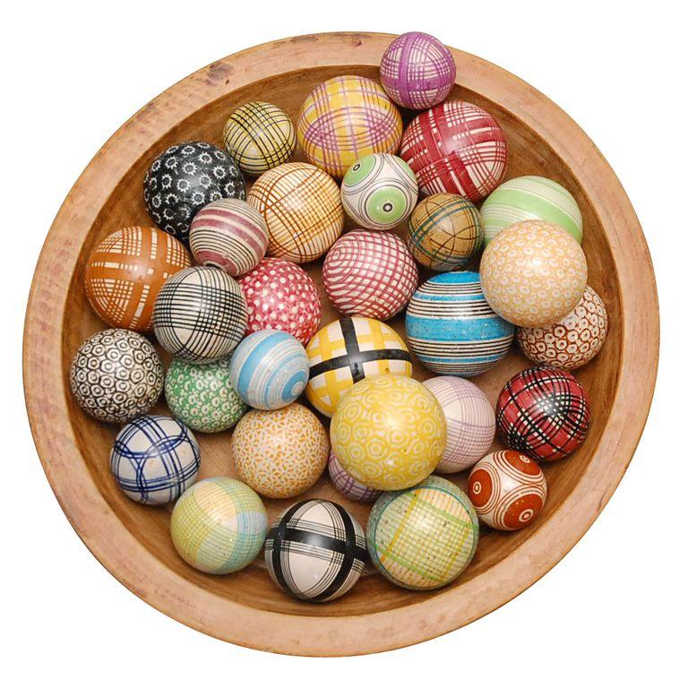Collection Of 26 Antique Carpet Balls 1stdibs Com Carpet Bowls Antique Carpets Vintage Pottery