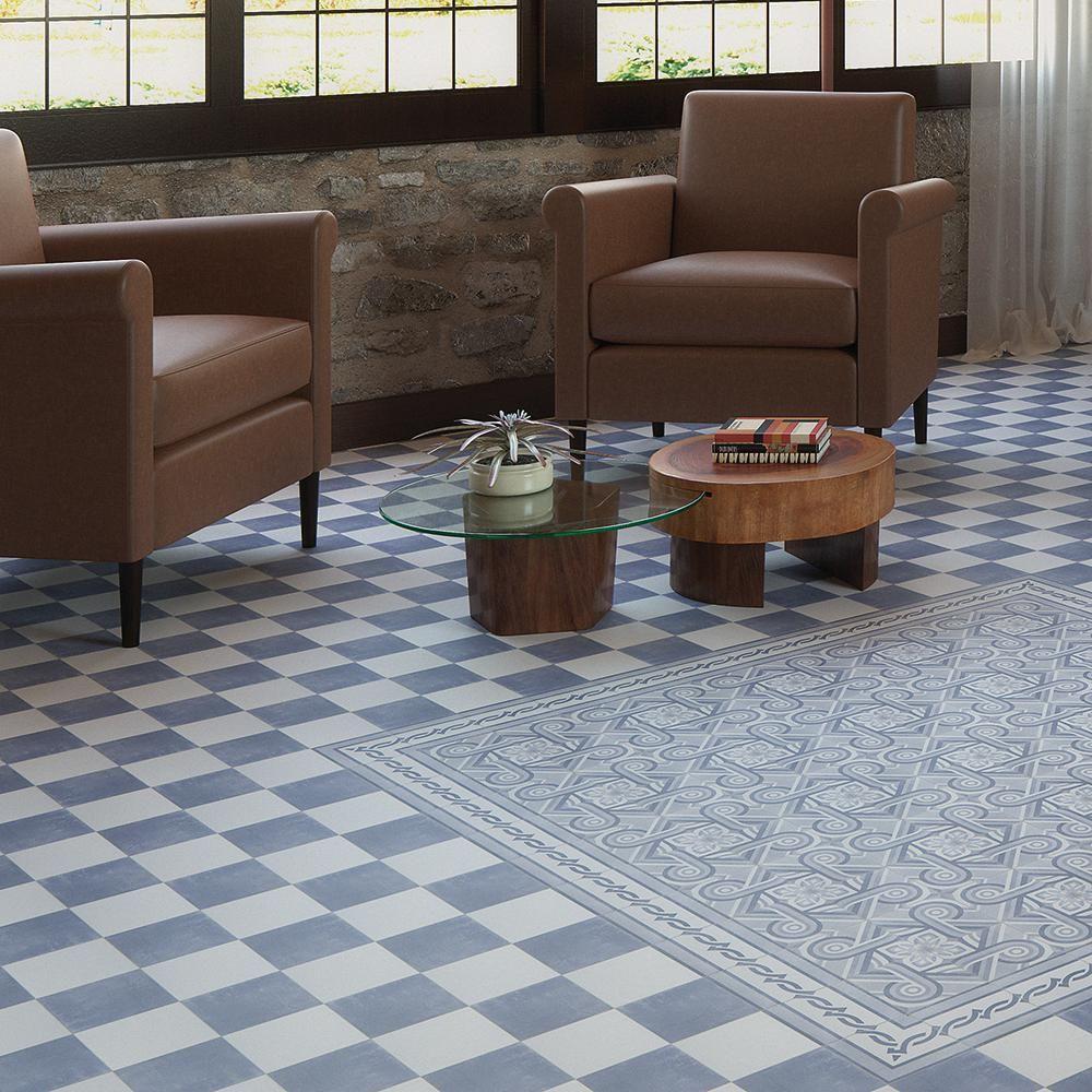 Merola Tile Atelier Azul Esquina 5-7/8 in. x 5-7/8 in. Ceramic Floor ...