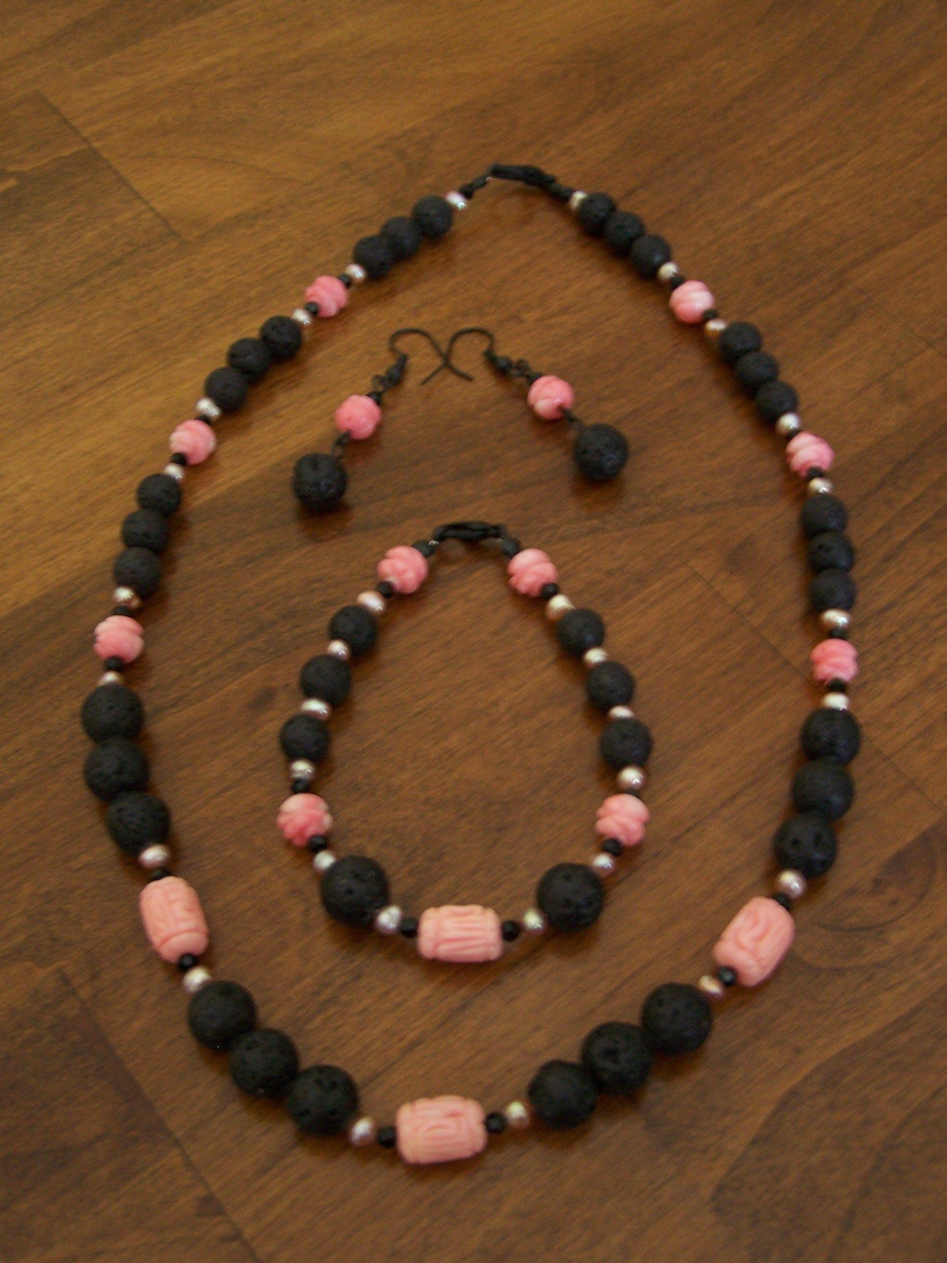 take me to hawaii lava rock black glass beads fresh water pearls