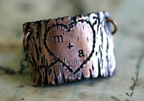 Tree Bark Lovers Carving Copper Necklace