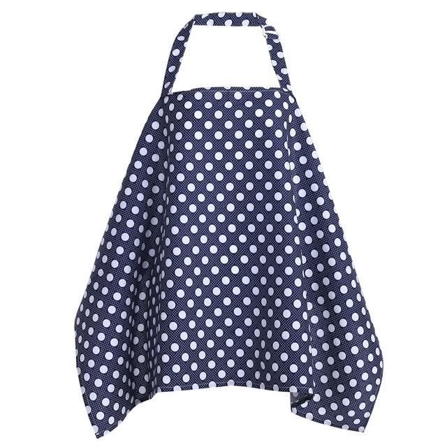 Breastfeeding Nursing Apron Cover Up Poncho Udder Blanket Navy with Dots
