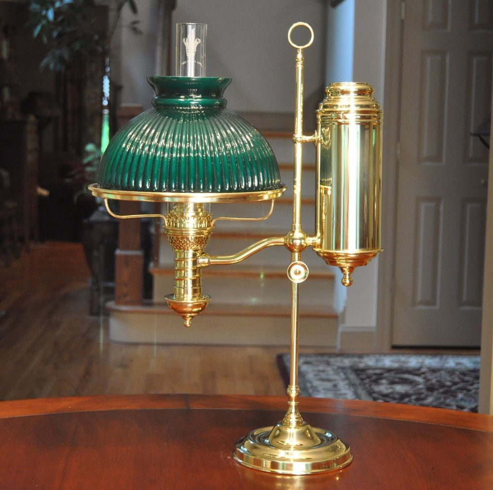 Rare Large Perfection Manhattan Brass Student Lamp Never Electrified  Complete