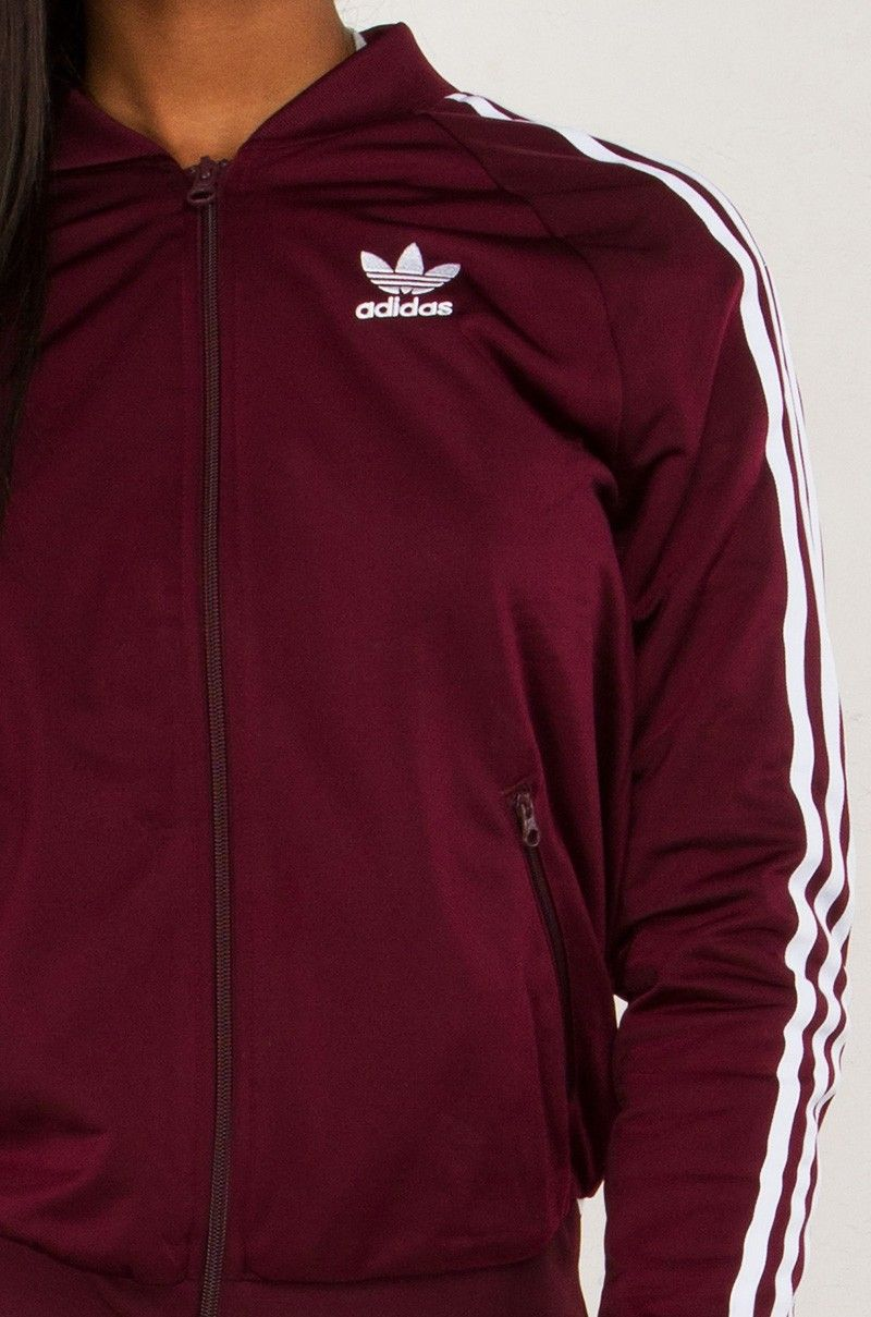 detail view Adidas Striped Track Jacket in Maroon  25d834516944