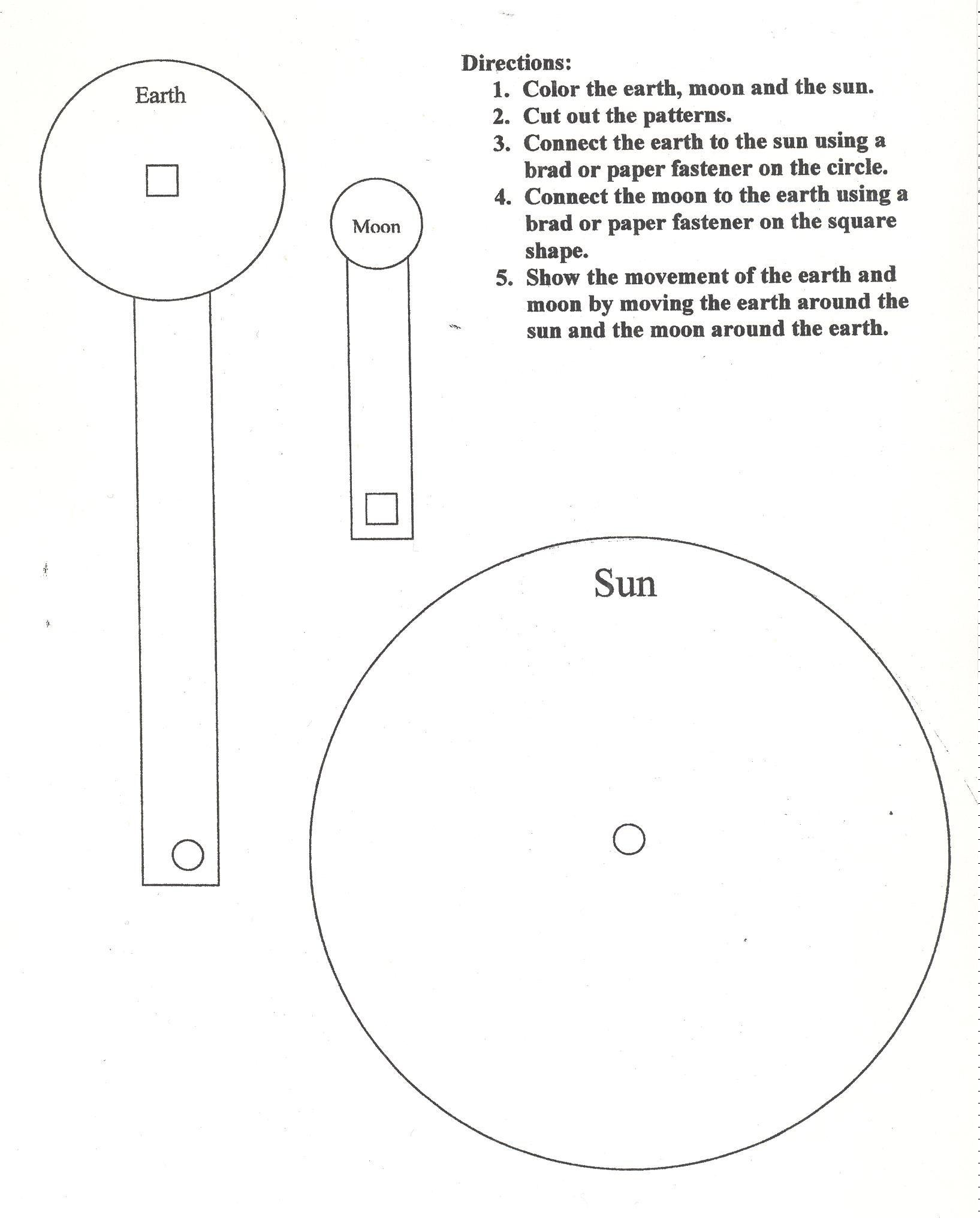 Sun Earth Moon Model Worksheet The Template Is In The
