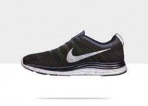 Chaussures Nike Flyknit Lunar 1 mode courir Homme Noir Gris Fonc Blanc pas  cher