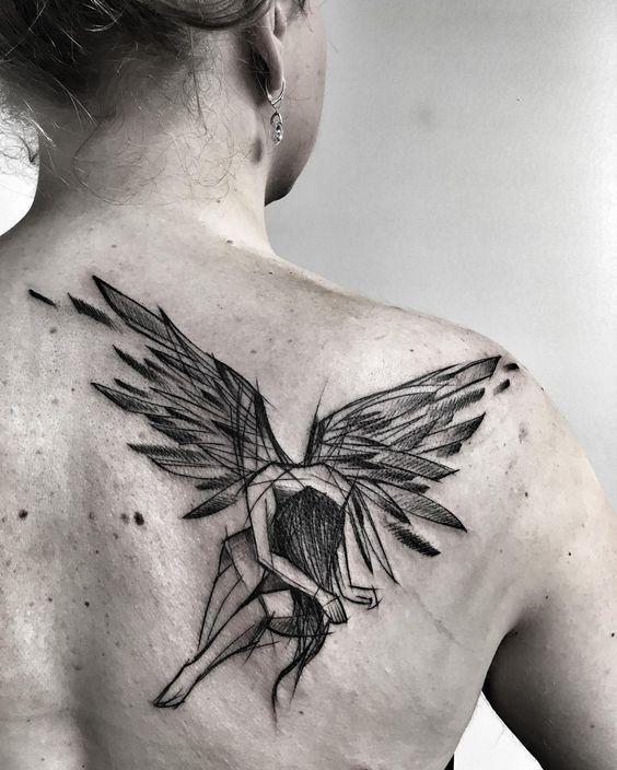 140 himmlische engel tattoos die sie glauben lassen. Black Bedroom Furniture Sets. Home Design Ideas