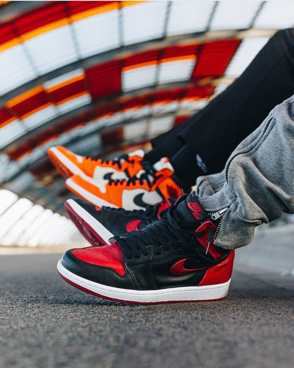 uk store wide varieties quality products Classic! Great shot of the Air Jordan 1 Bred and Reverse ...