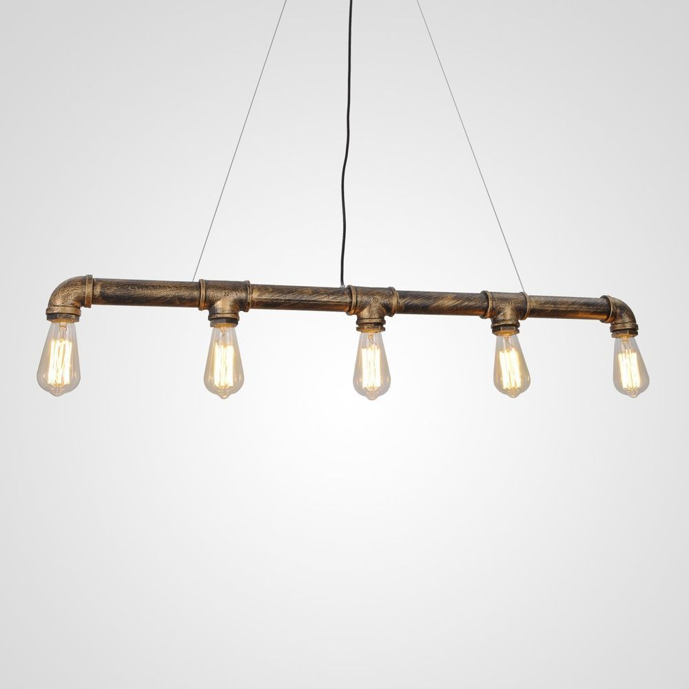 Industrial Steampunk Pipe Edison Bulb Ceiling Bar light lamp Bronze FREE 5 bulbs