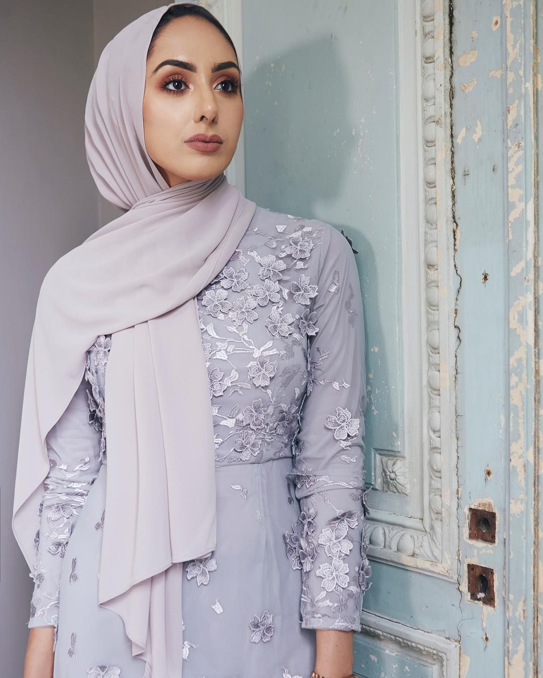 eddfe950cbf933 Our #INAYAHGIRL in our Silver Scattered Floral Dress. An ethereal design  embellished with silver-toned floral motifs. www.inayah.co