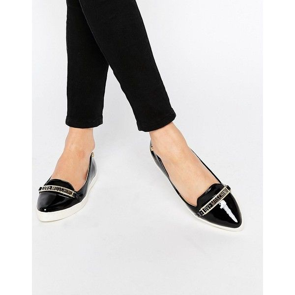 cb931effe05 Love Moschino Black Pointed Toe Flat Shoes (680 SAR) ❤ liked on Polyvore  featuring shoes