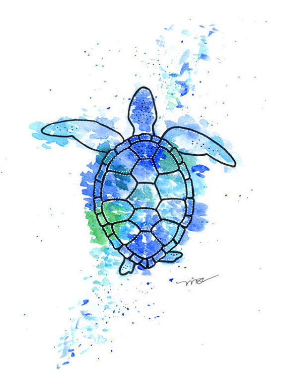 Turtle Watercolor Print Sea Turtle Art Blue By Blueturtleart