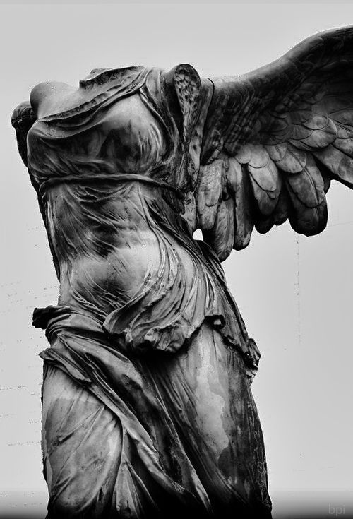 "marmarinos: ""Detail of the Winged Victory of Samothrace, also known as Nike of Samothrace, a Hellenistic Greek statue dated to the 2nd century BCE. Parian marble. Currently located in the Louvre. "" #greekstatue"
