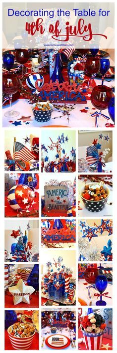 Decorating the table for a 4th of July party?  Decked out in red, white and blue, this tablescape has a Patriotic centerpiece mimicking fireworks with stars and stripes galore.  Check out the decorations and ideas for your Independence Day celebration at www.tootsweet4two.com.
