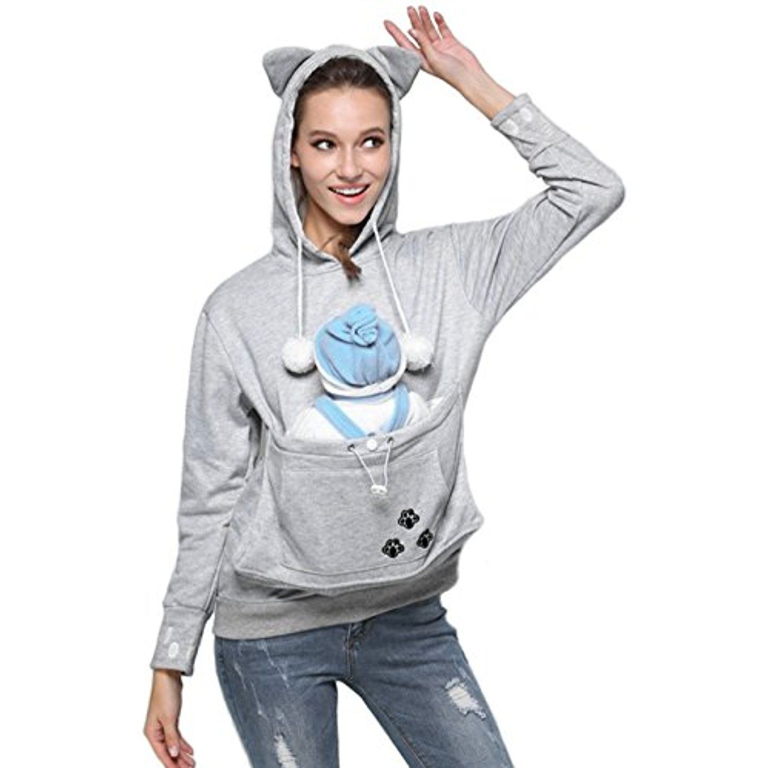 Women S Kangaroo Pouch Hoodie Fashion Baby Carrier Pullover Sweatshirt Check This Awesome Produc Hooded Jacket Sweatshirts Long Sleeve Sweatshirts Hoodies