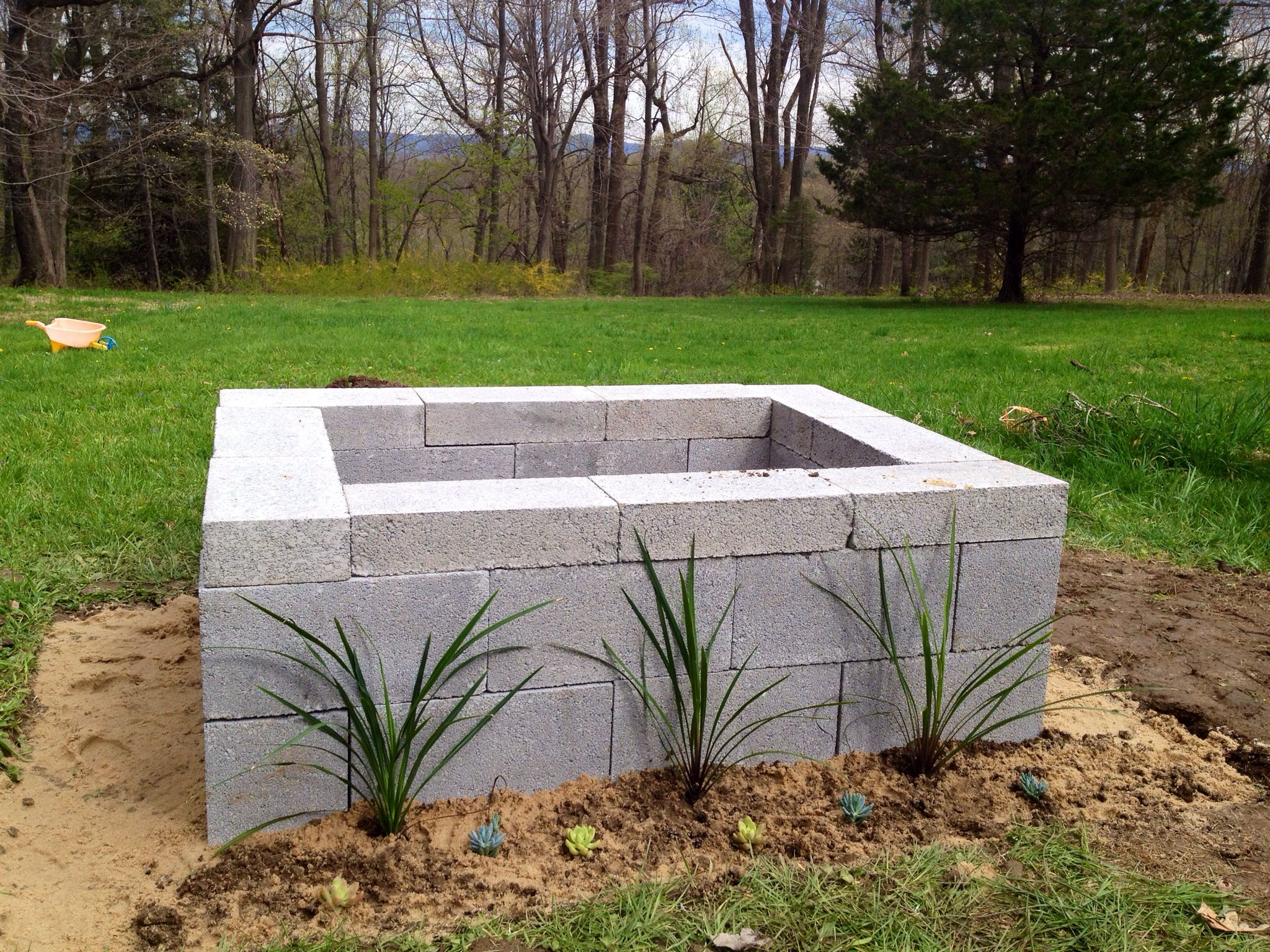 December 2013 - Fire pit done! It is three levels of cement block ...