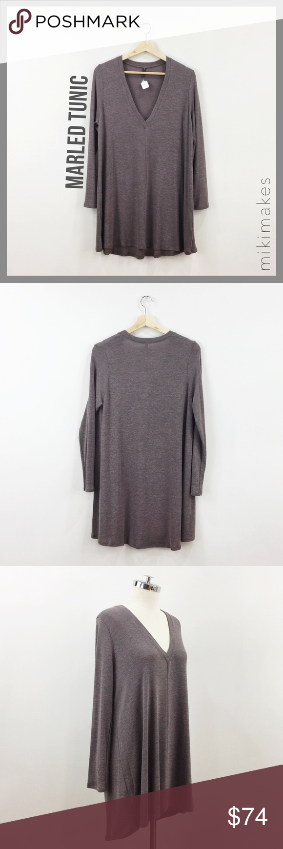 🆕 RILLER & FOUNT • rose & grey marled swing tunic • marled swing style tunic in dusty rose color and grey • deep v-neck • long sleeves  • super soft and perfect for layering  %   ✂️ Please see size chart in Riller & Fount boutique listing above ✂️ measurements might vary depending on the cut of the garments  • sorry no trades • please feel free to ask any questions  ❤️ @mikimakes Riller & Fount Tops Tees - Long Sleeve