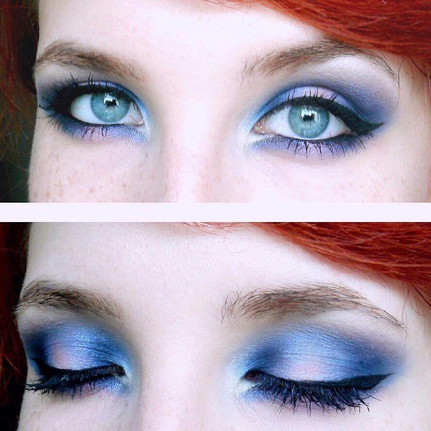 Blue and pink halo smokey eye makeup.