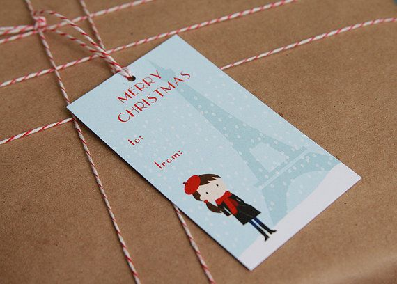 French girl holiday gift tags #packaging #gift tags