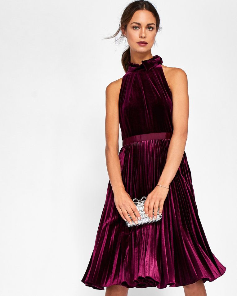 b66d6e8dc11b24 Pleated velvet midi dress - Oxblood
