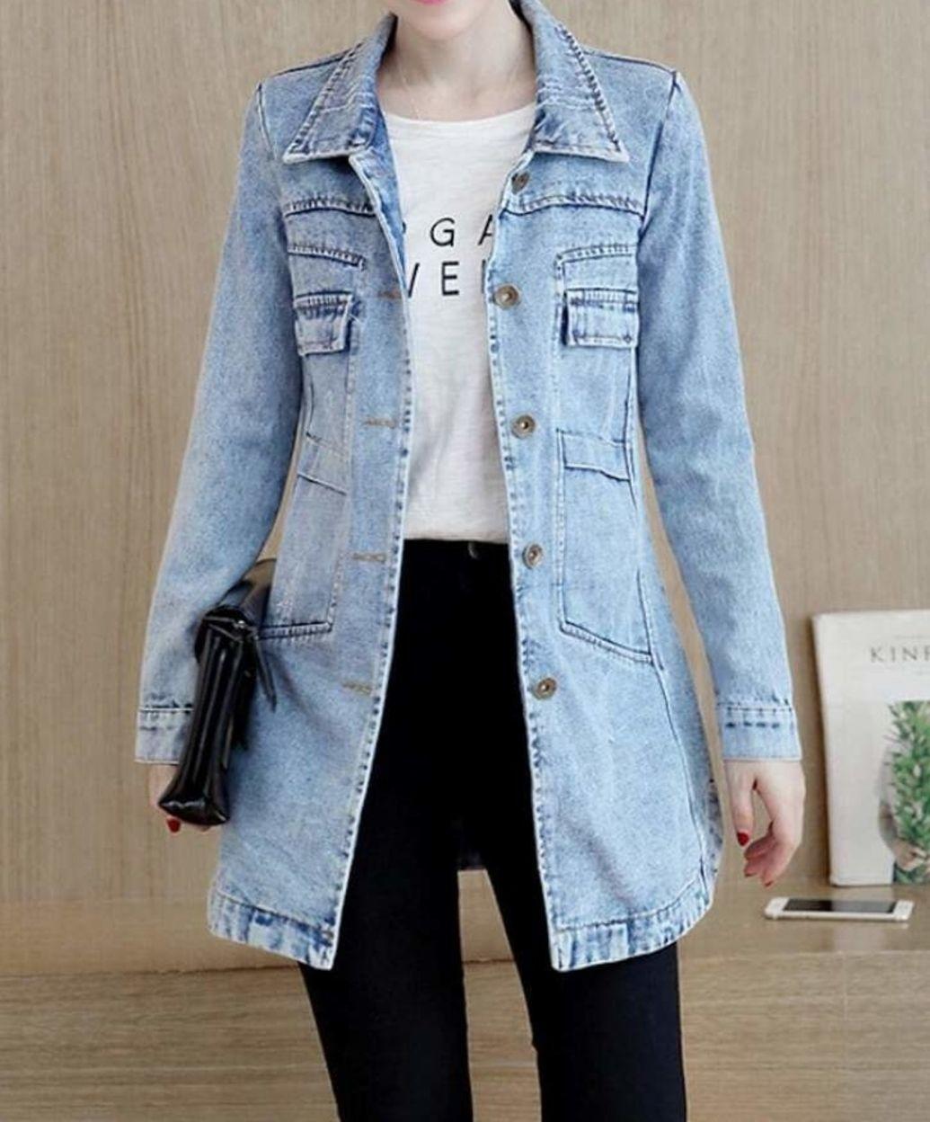 Womens Longer Length Denim Jacket In 2021 Long Denim Jacket Denim Jacket Denim Jacket Women [ 1248 x 1035 Pixel ]