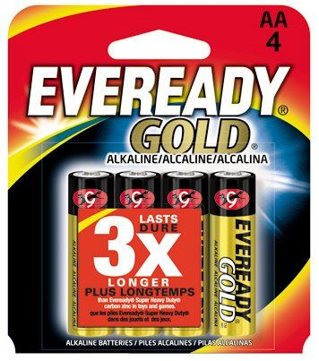 Eveready Gold A91bp 4 Aa Alkaline Battery Is The Answer To A Growing Need For A High Rate Source Of Portable Pow Alkaline Battery Batteries Household Batteries