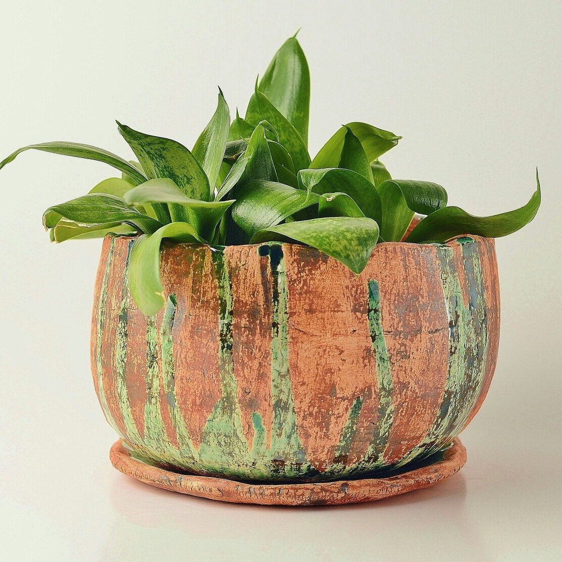 Rustic Ceramic Desk Window Large Planter Pot 5 With Drainage And Saucer Large Flower Pots Pottery Planters