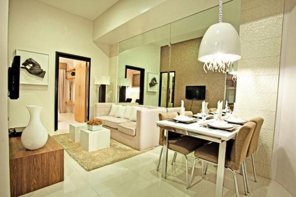 Mirror walls and neutral colors.. | Living Room Ideas for Condo ...