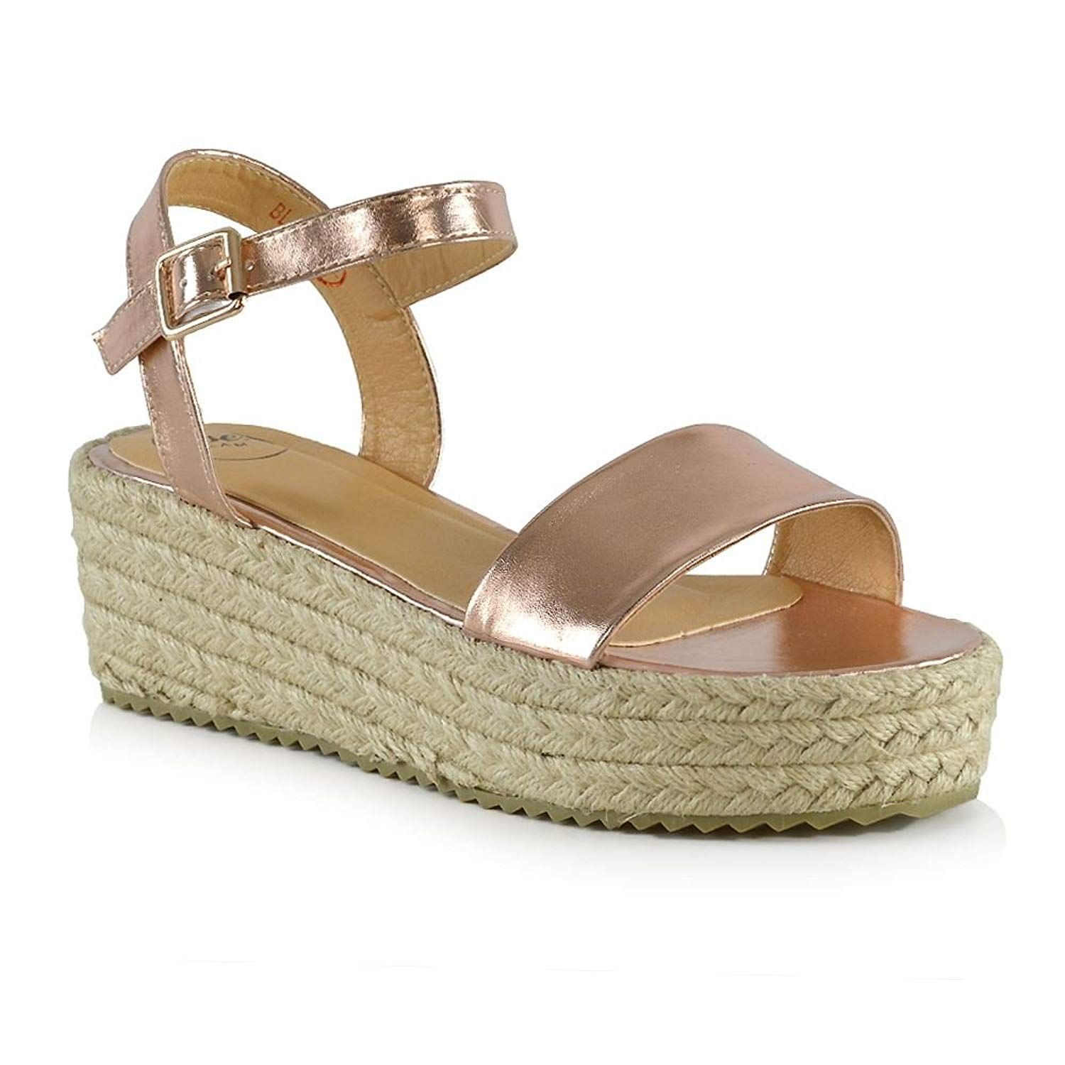 77d277f02ec ESSEX GLAM Womens Platform Sandals Flat Wedge Ankle Strap Espadrilles Shoes