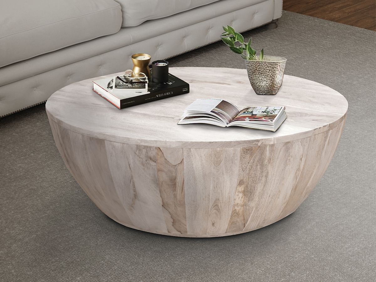Benzara Distressed Mango Wood Coffee Table In Round Shape Mango Wood Coffee Table Coffee Table Wood Coffee Table [ 900 x 1200 Pixel ]