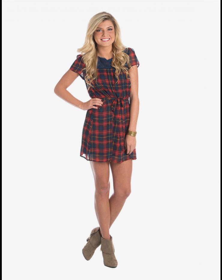 Short Sleeved Plaid Dress from #ApricotLane $49.00