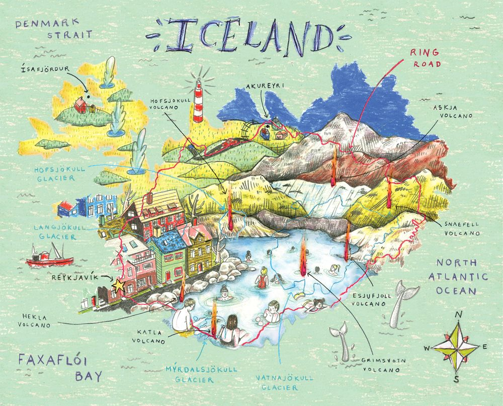 Illustrated map iceland google search my illustrated map illustrated map iceland google search gumiabroncs Gallery