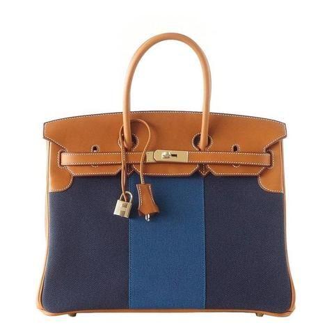 Hermes Birkin 35 Bag Blue Flag Toile Barenia Leather Permabrass Limited  Edition