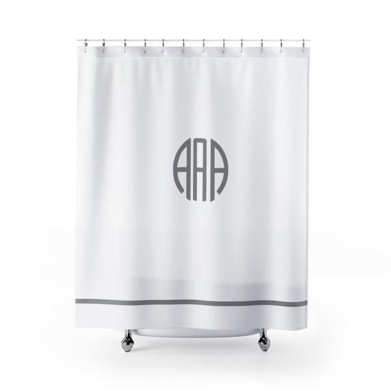 Monogrammed Shower Curtain Personalized Bathroom Decor With Your