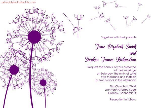 Dandelion Wedding Invitation Dandelions, Weddings and Free - free formal invitation template