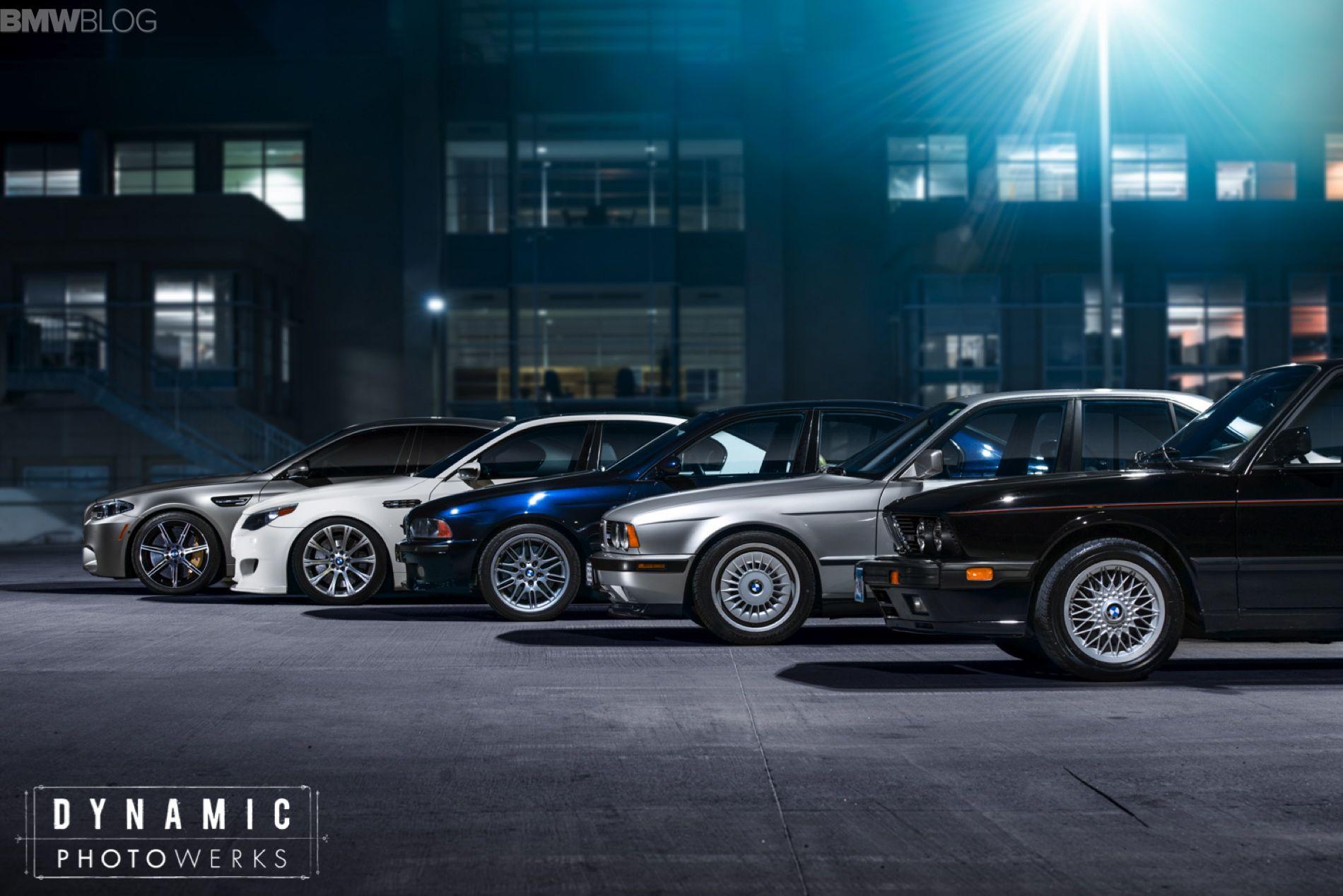 All five BMW M5 generations Photoshoot 자동차