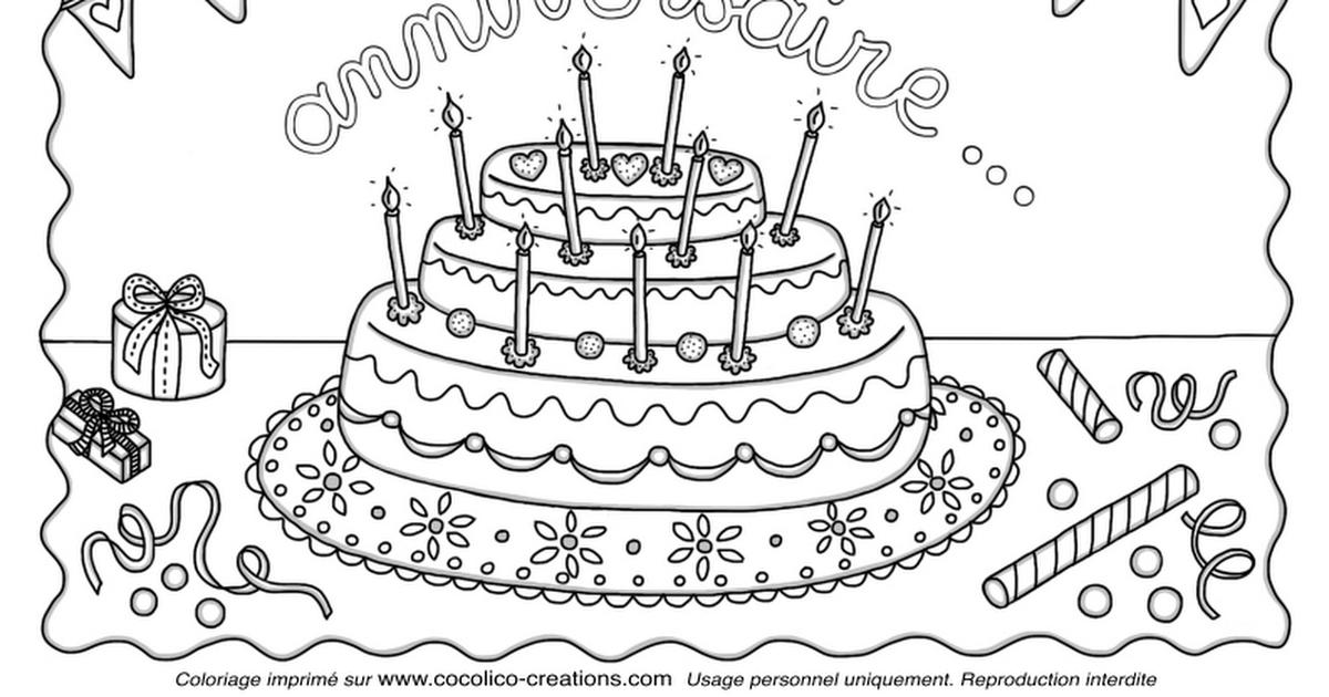 Coloriage Gateau Danniversairepdf Coloriage Gâteau