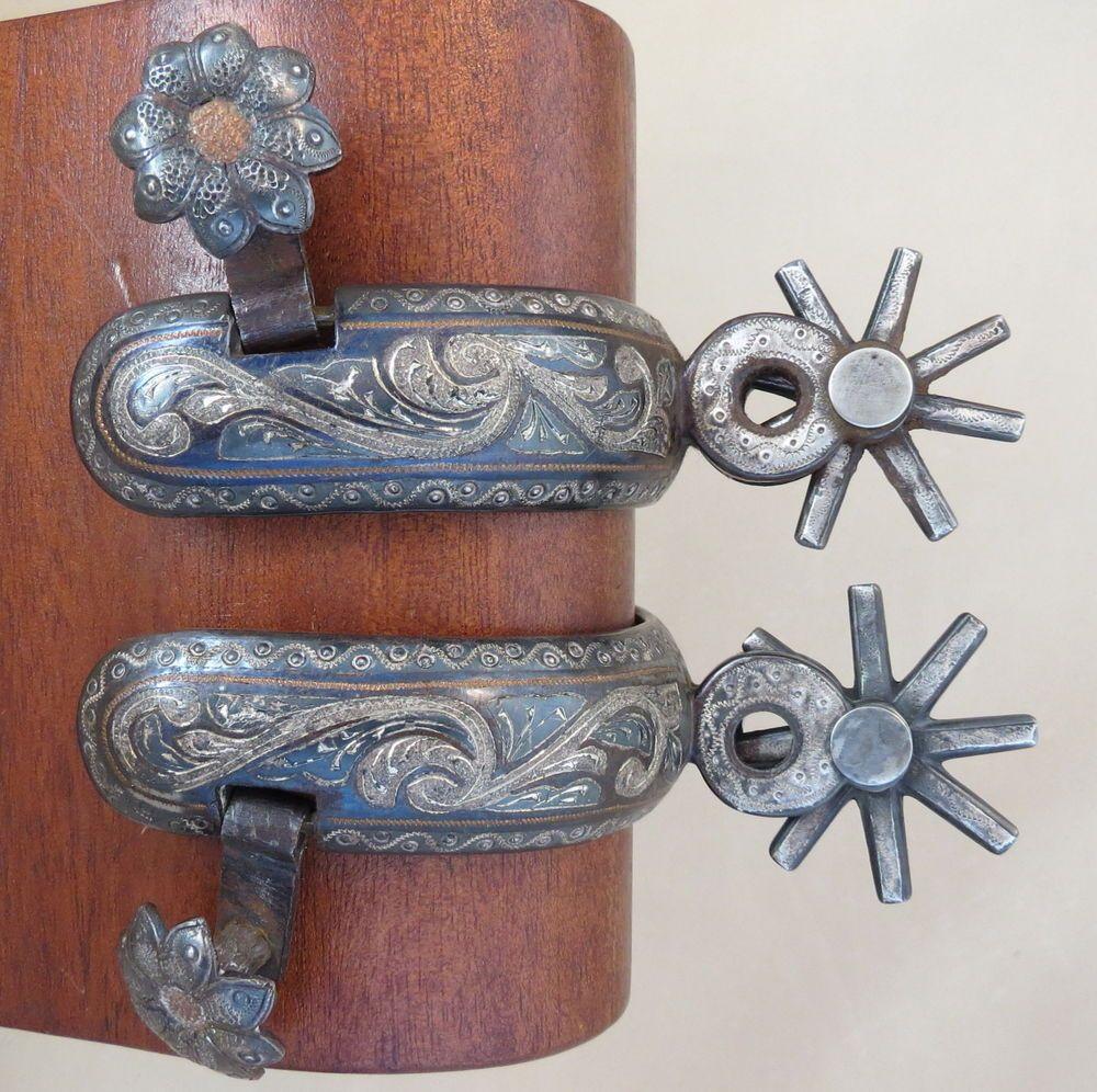 Western Handmade Mexico Sterling Silver Inlaid Chihuahua Cowboy Spurs Espuelas Charras Espuelas Charreria