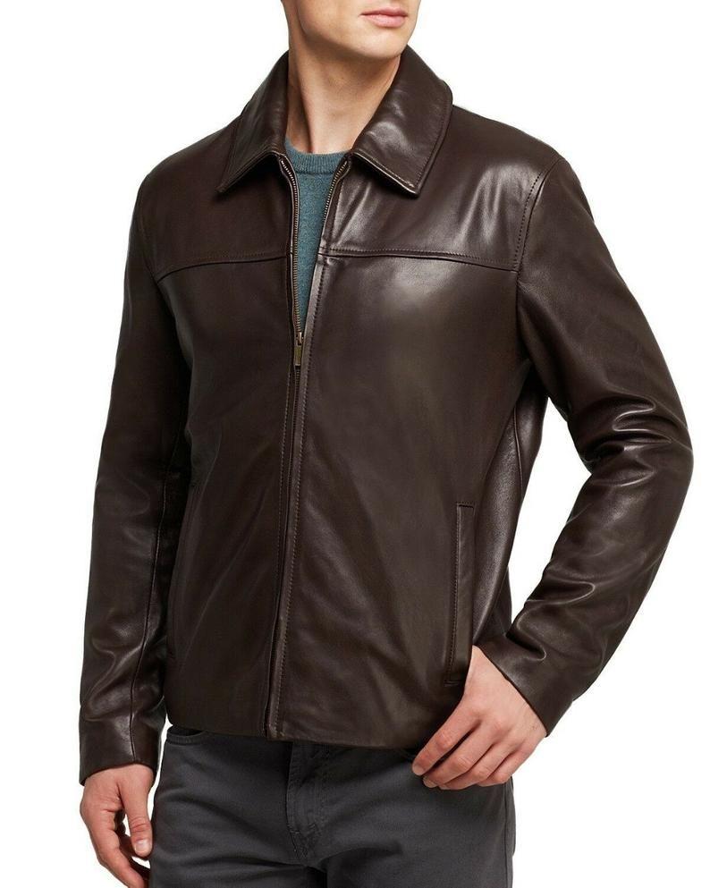 Hand Craft Chocolate Brown Leather Biker Collar Jackets For Etsy In 2021 Leather Jacket Men Leather Shirt Shirt Jacket Men [ 993 x 794 Pixel ]
