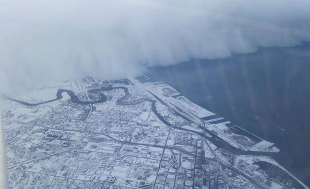 Image - Provided by CityLab  Massive current of snow encroaching on Buffalo, NY over Lake Erie near Ohio