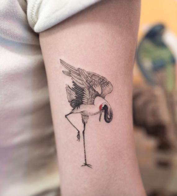 Crane Tattoo Inkstylemag Crane Tattoo Heron Tattoo Tattoos