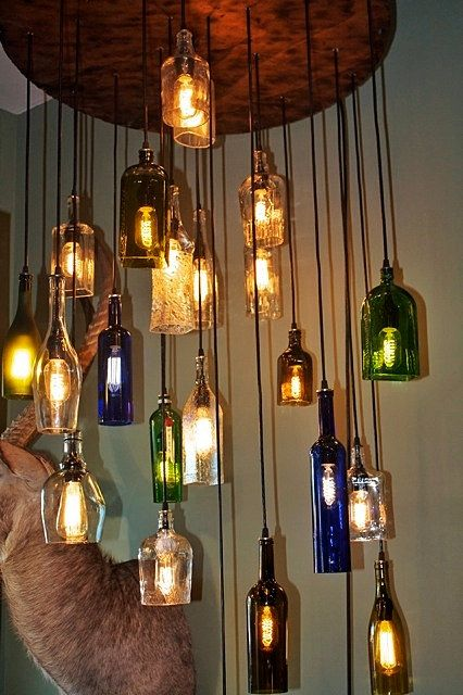 Liquor Bottle Chandelier Interior Design Idea Via Salvaged On Etsy