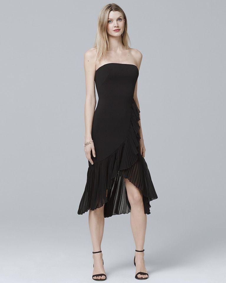 f6d910909d Women s Carmen Marc Valvo Strapless High-Low Pleated Flounce Sheath Dress  by White House Black Market