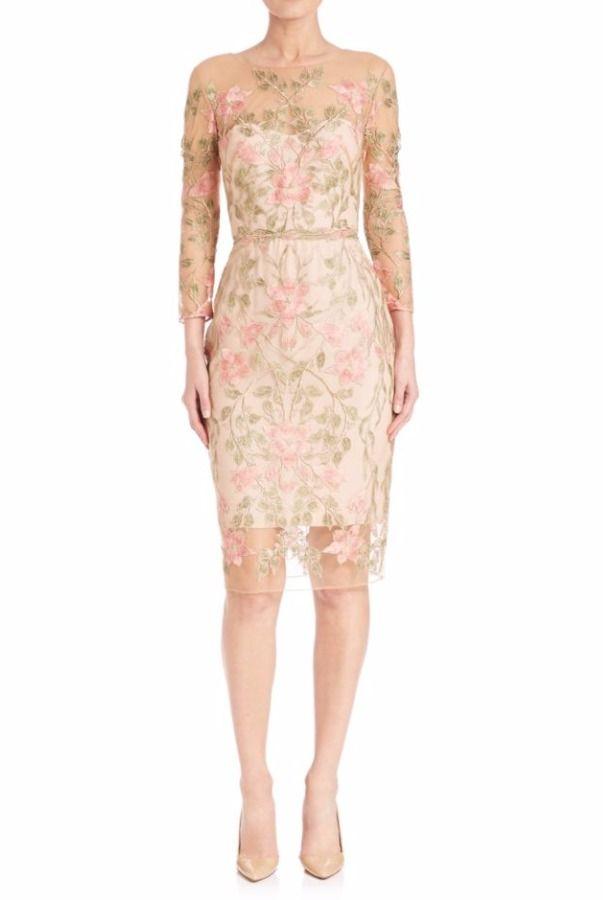 e696e0dd4c1 Marchesa Notte Floral Embroidered Illusion Cocktail Dress Rose ...