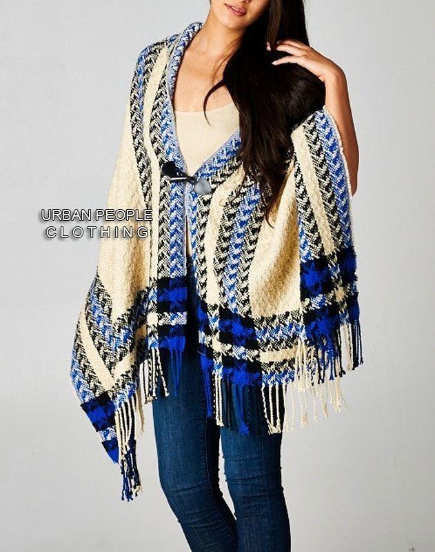 White Knit Poncho Womens Vintage Size SMMM Fringe Bohemian Mod Clothing Black