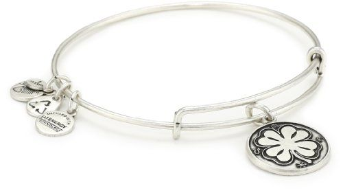 """Alex and Ani Bangle Bar """"Four Leaf Clover"""" Russian-Silver Expandable Bracelet 