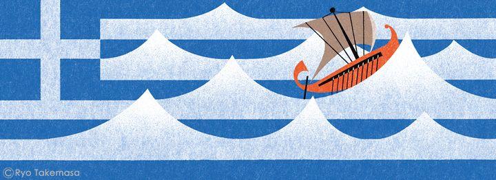 武政 諒 Ryo Takemasa |  イギリスの雑誌『MONOCLE』issue 74で挿絵を担当しました。ギリシャの政治情勢とバナナの茎の再利用についての記事です。 Spot illustrations for Monocle Magazine, issue 74.