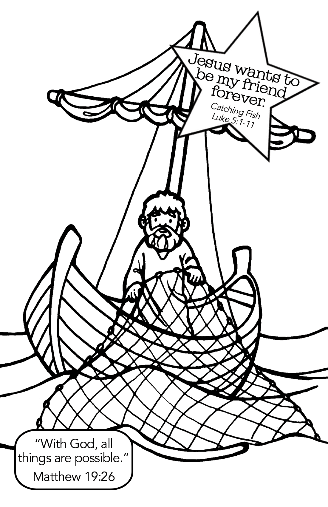 jesus disciples coloring page - fishing with jesus coloring page yahoo image search