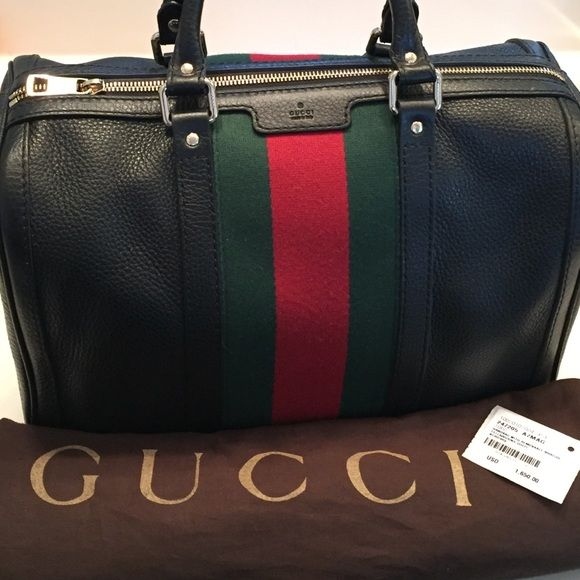 27d9e32fea176f Gucci Vintage Web Leather Boston Bag- Never used Black leather, gold  hardware, canvas interior, removable-adjustable should strap,green/red  brand stripe, ...
